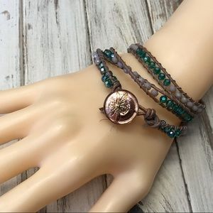 Handmade teal and gray cord wrap bracelet